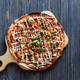 Pizza on dark wooden table. Top view - PhotoDune Item for Sale