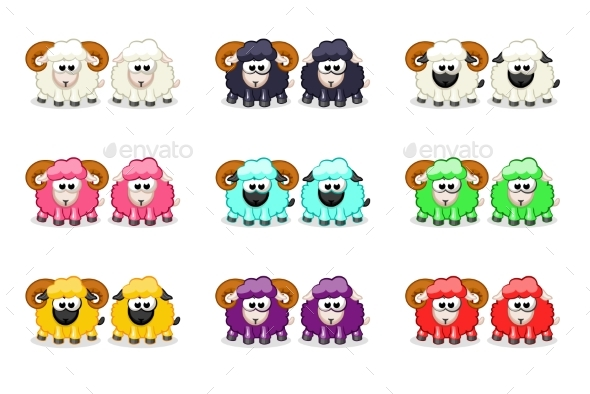 Cartoon Colored Sheep and Ram - Animals Characters