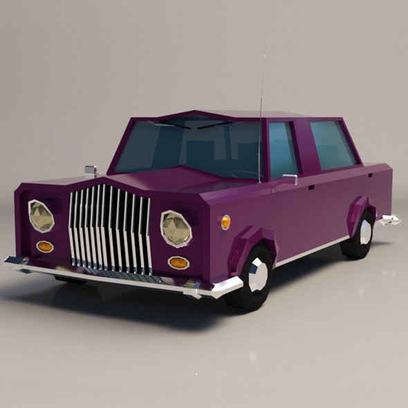 Low-Poly Cartoon Limousine Car - 3DOcean Item for Sale