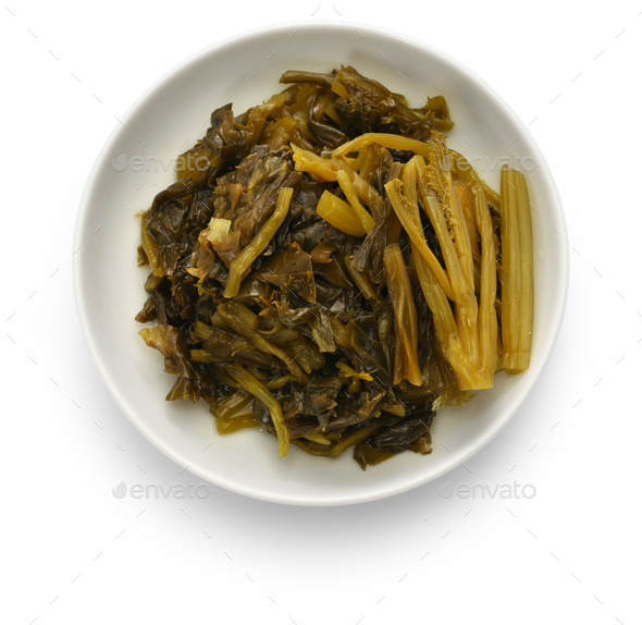chinese pickled cabbage, preserved snow vegetable - Stock Photo - Images
