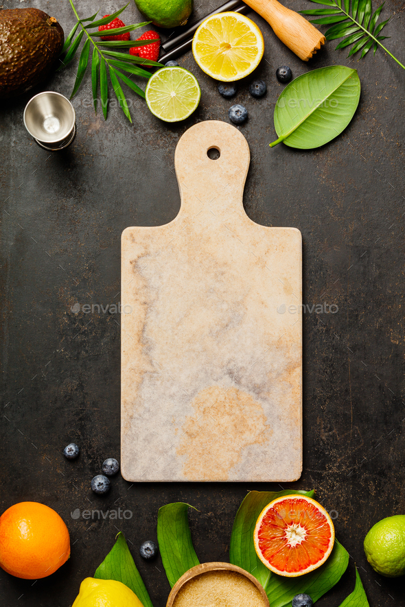Marble cutting board, Cocktail making bar tools, tropical fruits - Stock Photo - Images
