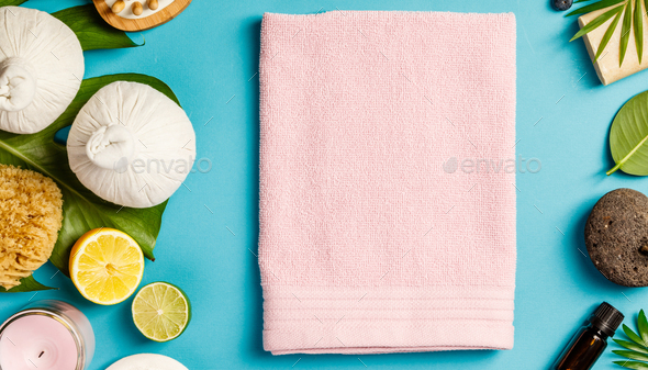 SPA composition on blue background - Stock Photo - Images