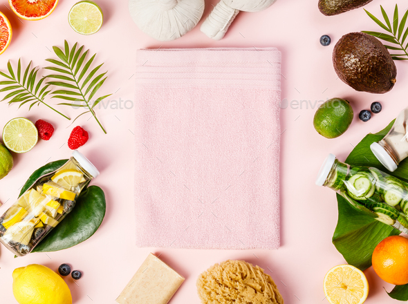 Detox fruit infused water, tropical fruits, leaves and SPA setti - Stock Photo - Images