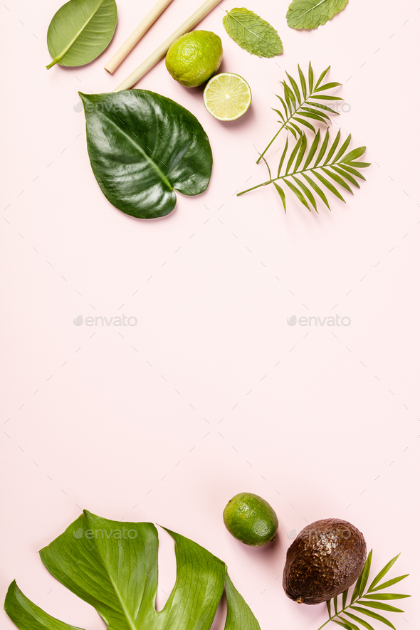 Tropical fruits and leaves - Stock Photo - Images