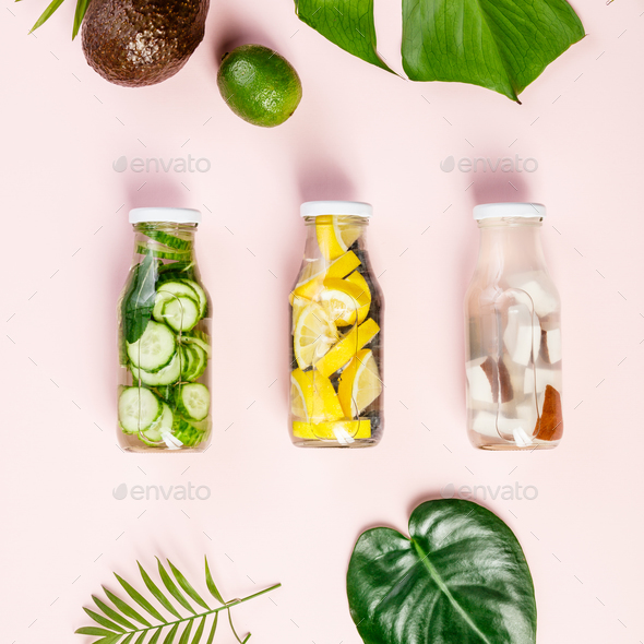 Detox fruit infused water - Stock Photo - Images