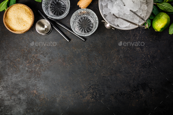 Metal ice bucket and mojito ingredients - Stock Photo - Images