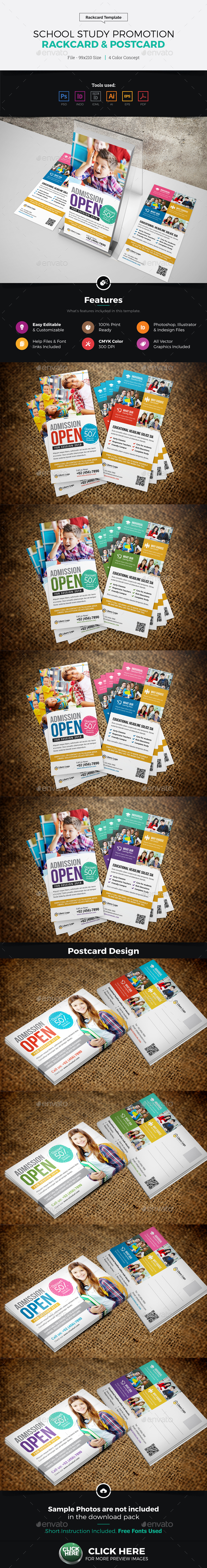 School Study Promotion Rackcard Postcard Design - Cards & Invites Print Templates