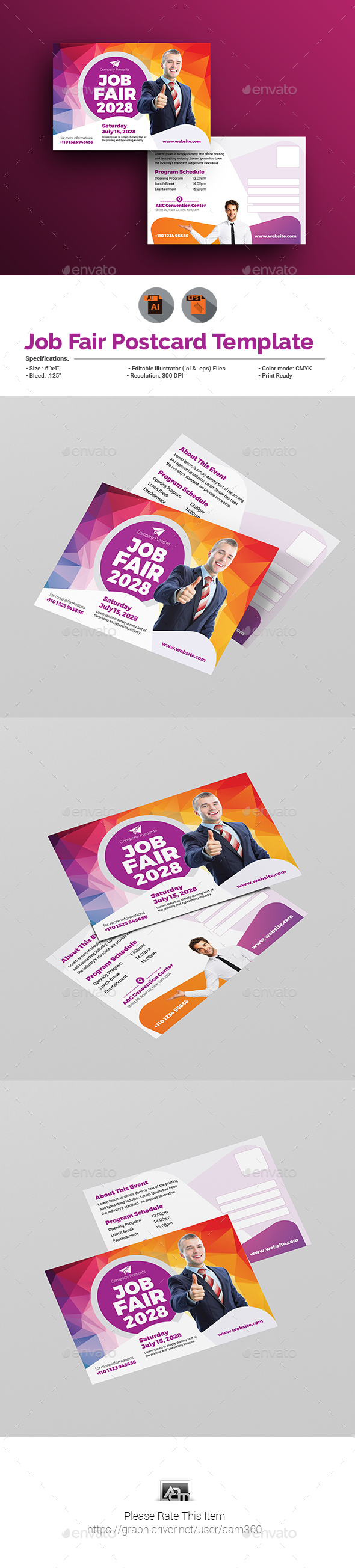 Job Fair Postcard Template