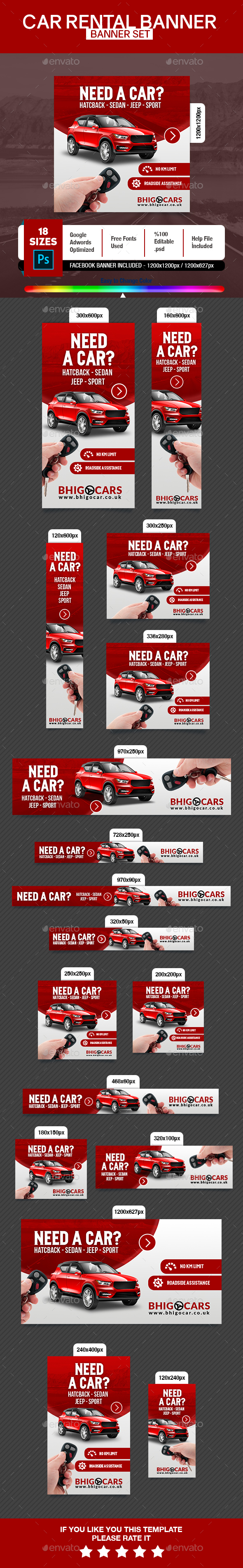 Car Rental Banner - Banners & Ads Web Elements