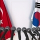 Flags of Turkey and Korea at International Press Conference - VideoHive Item for Sale