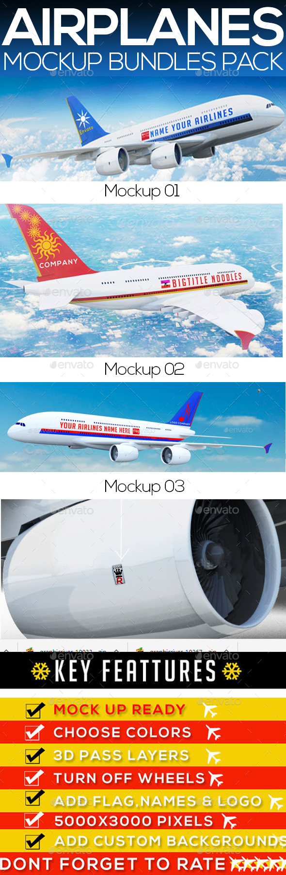 Airplane  Mockup - Bundle - Miscellaneous Print