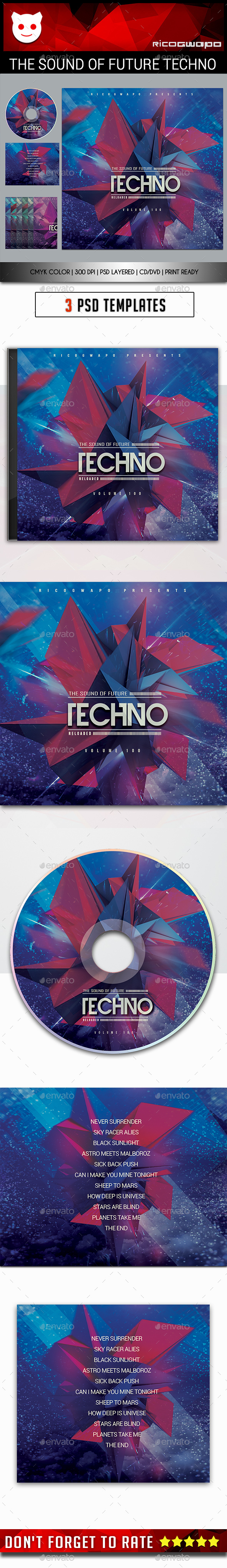 The Sound of Future Techno Cd/DVD Template - CD & DVD Artwork Print Templates