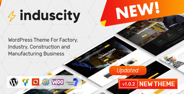 Image of Induscity - Factory, Industry, Construction and Manufacturing Business WordPress Theme