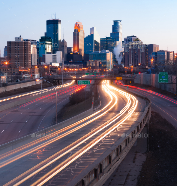 Interstate Traffic Moving Metro Highway Minneapolis Minnesota City Skyline - Stock Photo - Images