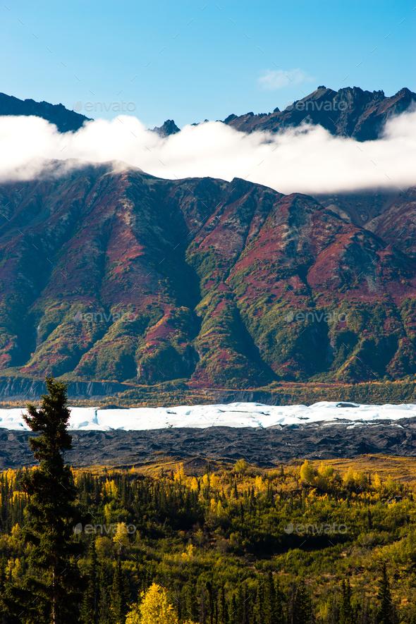 Ancient Lava Flow Rust Color Alaska Mountain Landscape - Stock Photo - Images