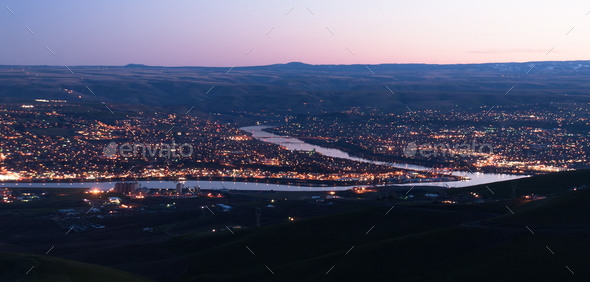 Aerial View Lewiston Idaho Bridge Bend Clearwater River Sunset - Stock Photo - Images