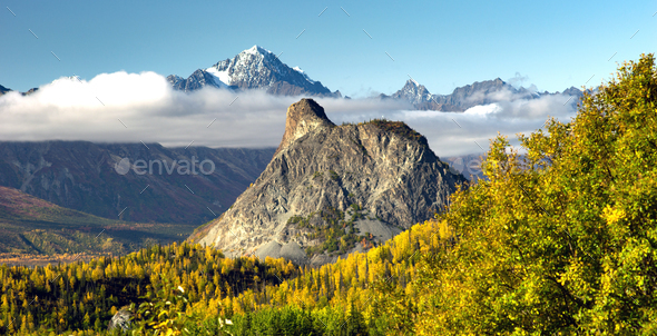 Chugach Mountains Matanuska River Valley Alaska United States - Stock Photo - Images
