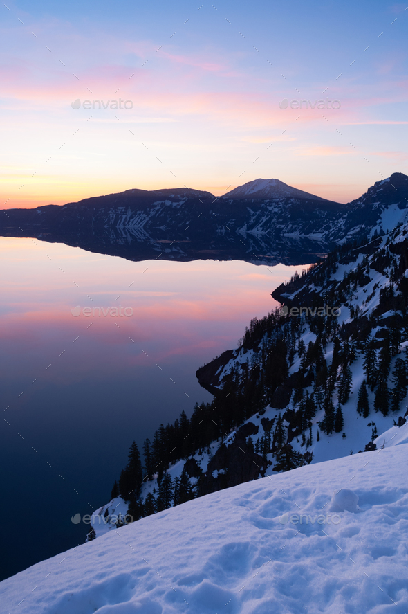 South Rim Winter Sky Sunst Mount Scott Crater Lake Oregon - Stock Photo - Images