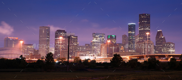 Night Panoramic Composition Downtown City Urban Skyline Houston - Stock Photo - Images