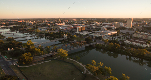 Over Waco Texas Downtown City Skyline Disk Bridges Over Brazos River - Stock Photo - Images