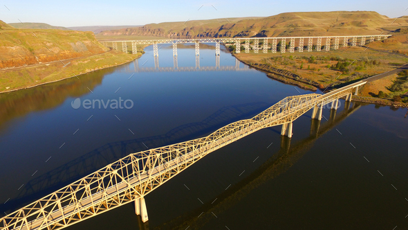 Lyon's Ferry Bridges Snake and Palouse River Washington State - Stock Photo - Images