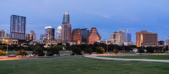 Butler Metro Park Grounds Night Dusk Downtown City Skyline Austin TX - Stock Photo - Images