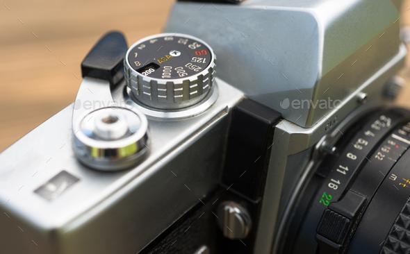 Vintage Manual Focus 35mm SLR Camera Wind Lever Viewfinder - Stock Photo - Images