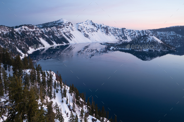 North Rim Winter Sky Sunst Mount Scott Crater Lake Oregon - Stock Photo - Images