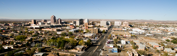 Albuquerque Downtown City Metro Skyline Desert South New Mexico - Stock Photo - Images