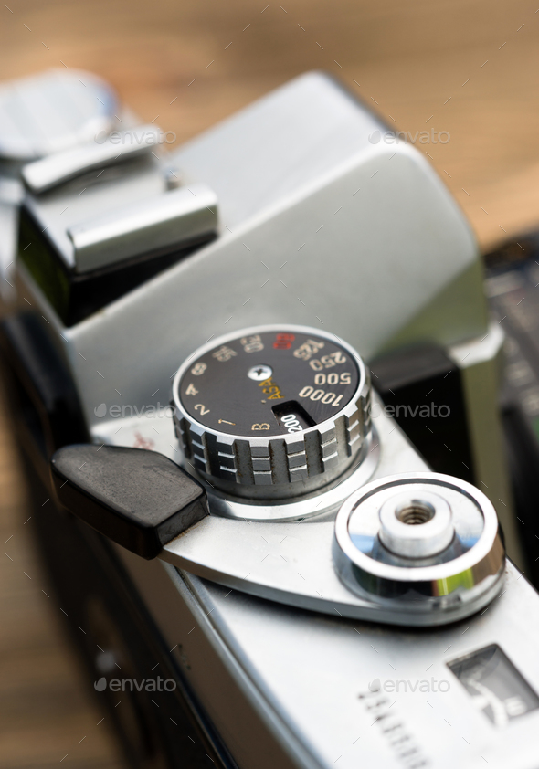 Vintage Manual Focus 35mm SLR Camera Wind Lever Viewfinder - Stock Photo - Images