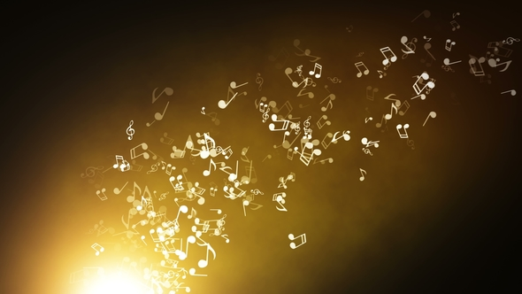 Floating Musical Notes On An Abstract Gold Background With Flares