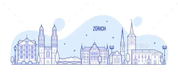 Zurich Skyline Switzerland City Buildings Vector - Buildings Objects