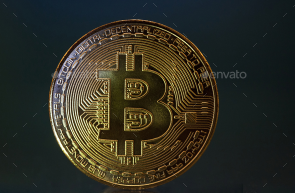 Golden Bitcoin Cryptocurrency - Stock Photo - Images