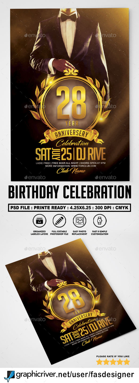 Birhtday Celebration Flyer Template - Clubs & Parties Events