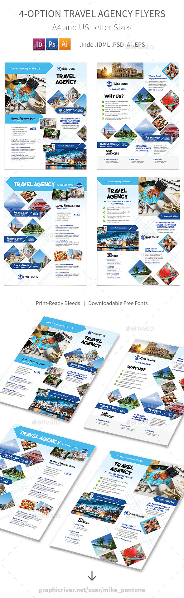Travel Agency Flyers 3 – 4 Options - Corporate Flyers