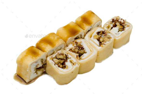 Japanese food. Sushi rolls on a white background - Stock Photo - Images