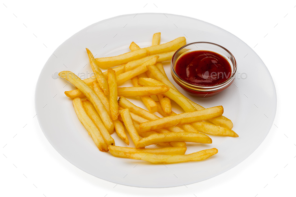 French fries with red sauce on a white plate - Stock Photo - Images