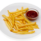 French fries with red sauce on a white plate - PhotoDune Item for Sale