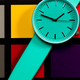 Clock on a  colored background. Abstraction. Minimalism - PhotoDune Item for Sale