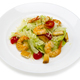 Seafood.Salad with shrimps in a plate on a white background - PhotoDune Item for Sale