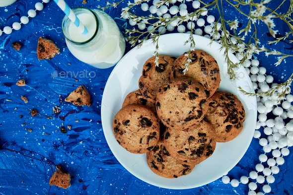 Cookie chocolate with a milk bottles. - Stock Photo - Images