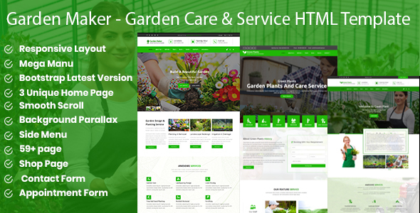 Green Plants - Garden Care & Service HTML5 Template - Corporate Site Templates