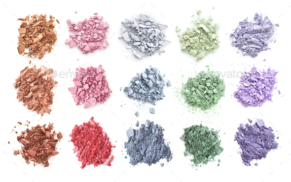 Crushed color eyeshadows isolated on white background. Top view - Stock Photo - Images