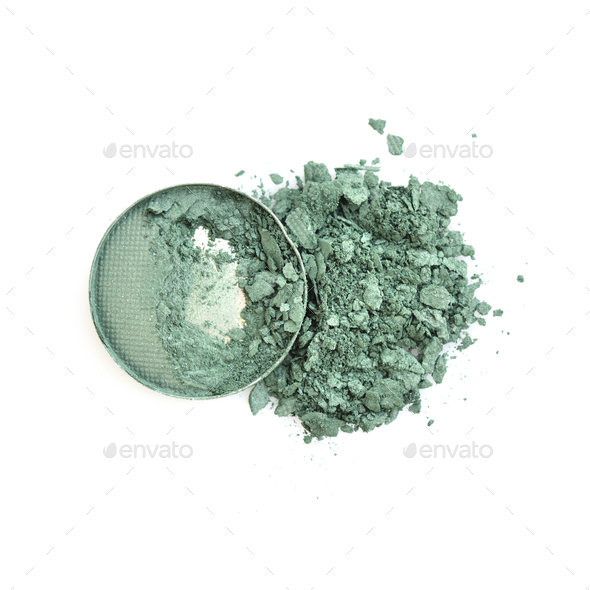 Smashed and cracked eye shadow isolated on white background. Top - Stock Photo - Images