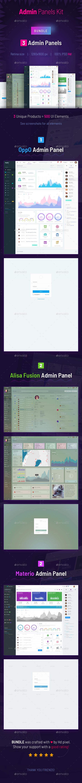 Admin Panels Bundle | 3 Admin Panels Kit - User Interfaces Web Elements