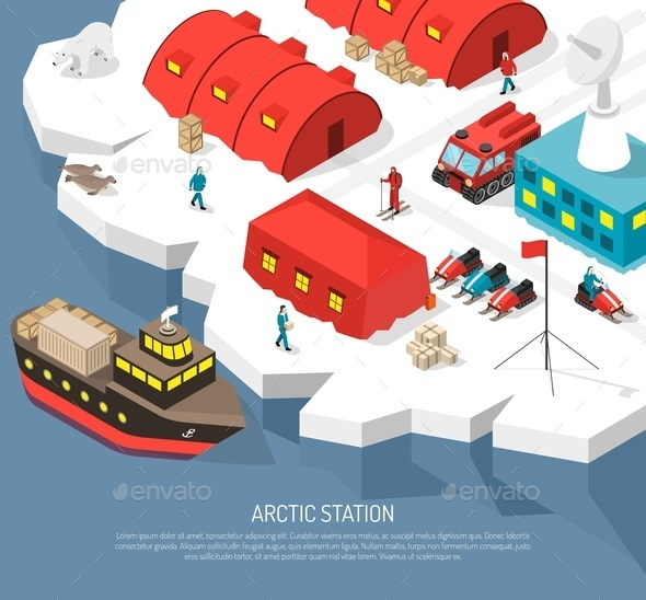 Arctic Polar Station Isometric Poster - Buildings Objects
