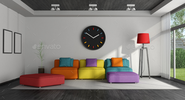 Colorful living room - Stock Photo - Images