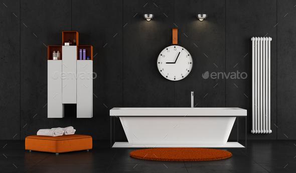 Minimalist bathroom with bathtub - Stock Photo - Images