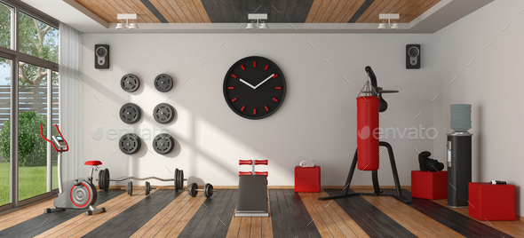 Home gym with sport equipment - Stock Photo - Images
