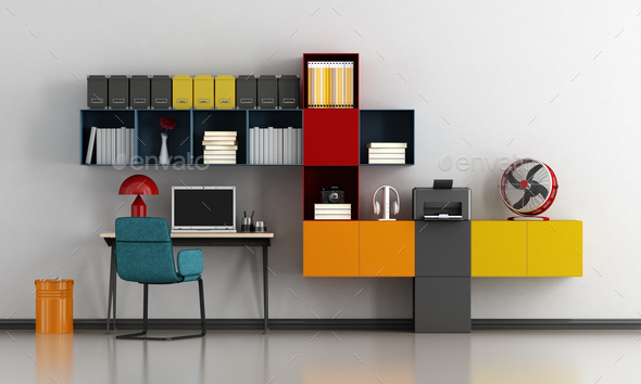 Colorful home office - Stock Photo - Images